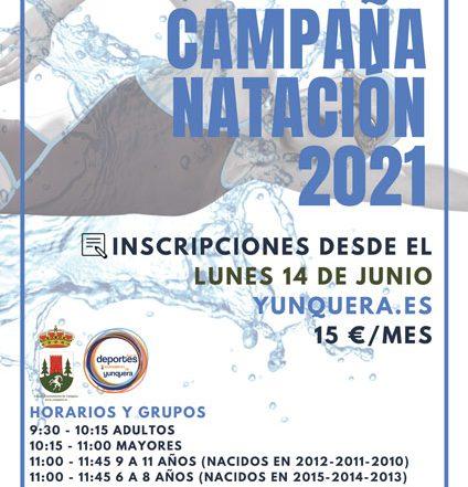 Campaña natación 2021 - Plazo de inscripciones y comienzo de clases