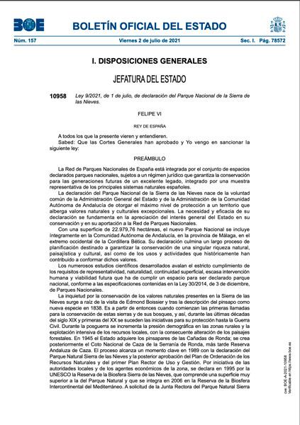 Declaración del Parque Nacional Sierra de las Nieves en el BOE-numero-157,-del-viernes-2-julio-de-2021