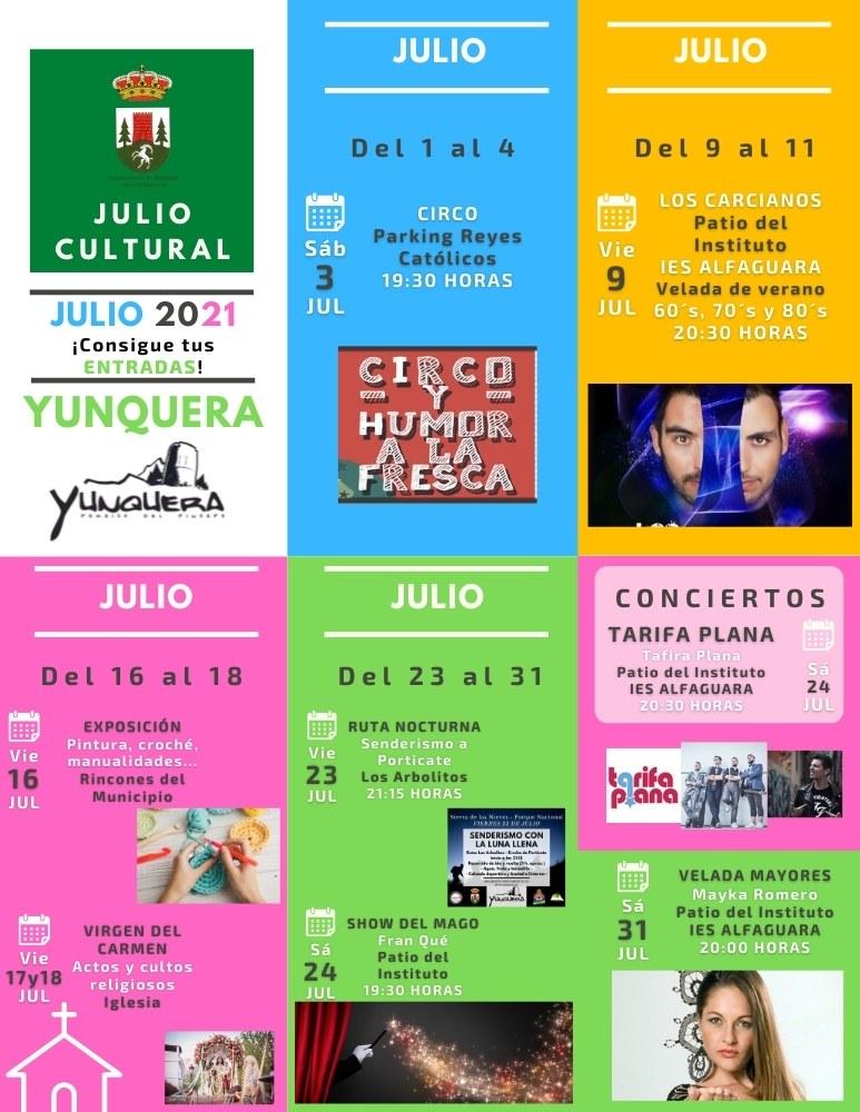 Verano cultural en Yunquera - Actividades culturales Julio 2021