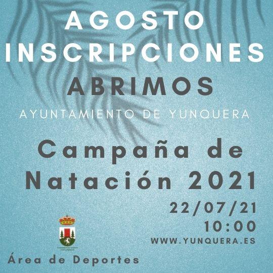 Inscripciones de natación 2021 para el mes de agosto, en la campaña de natación de Yunquera 2021